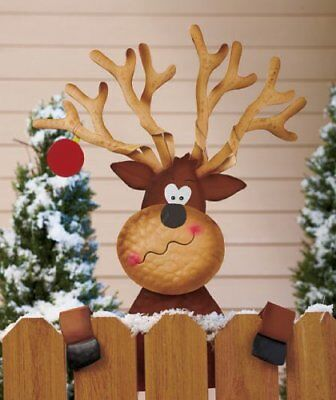 Christmas  Yard Reindeer Fence Topper Decoration