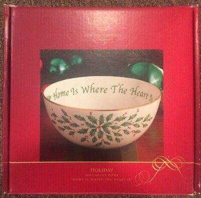 """Lenox Holiday 7"""" Sentiment Bowl Home Is Where The Heart Is Christmas Dish Holly"""