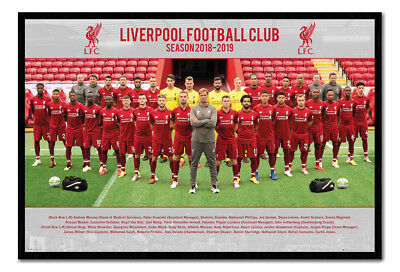 Framed Liverpool FC Poster 2018  2019 Team Squad Photo 18 19 New