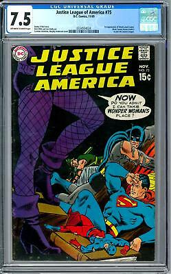 Justice League of America #75 CGC 7.5 (OW-W) 1st Dinah Laurel Lance