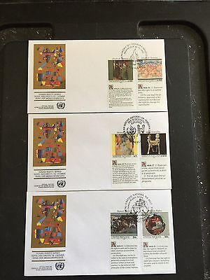 United Nations - 1991 Human Rights Issue All Three Offices FDC set  FDC(9)