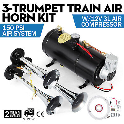 3-Trumpet compressor rain Air Horn Kit With 150PSI High Motor Air System PRO