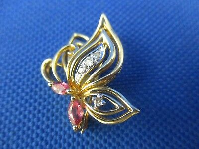 Vintage 14K Yellow Gold Ruby And Diamond Butterfly Pin