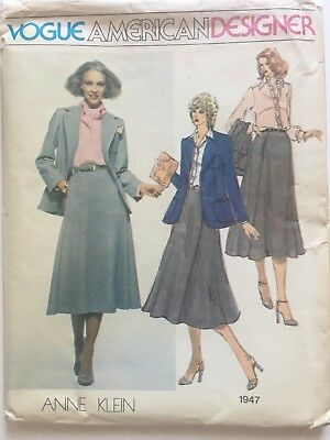 Vintage VOGUE Sewing Pattern 1947 ANNE KLEIN Misses Size 14 uncut