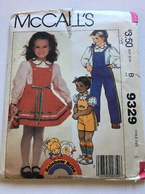 McCall's Vintage 1983 Rainbow Brite Child's Size 5 Sewing Pattern 9329