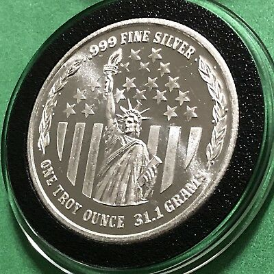 Statue Of Liberty Idaho State Seal 1 Troy Oz .999 Fine Silver Round Coin Medal