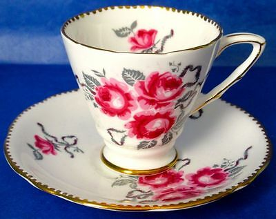Antique Royal Stafford CAMEO ROSE Hand Painted Cup & Saucer 1930s