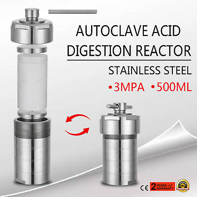 3MPa Autoclave Hydrothermal Synthesis Reactor Kettle Vessel 500ml