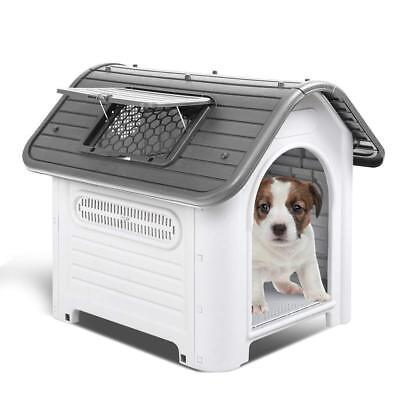 Waterproof Plastic Dog Cat Kennel Puppy Outdoor Indoor House Pet Up to 30LB GRY