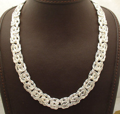 """18"""" All Shiny Bold Polished Byzantine Necklace Chain Real Sterling Silver 925"""