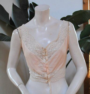 1900 Lace Trimmed Pink Camisole Hook And Eye Front Closure