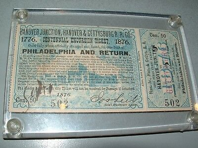 1876 Railroad Ticket, Hanover & Gettysburg Railroad ~Authentic, Punched Ticket~