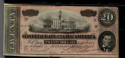 Confederate States of America Twenty Dollars 2/17/1864 Nice circulated