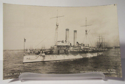USS Atlanta Cruiser Navy Ship Real Photo Postcard Muller Antique Vintage 1904
