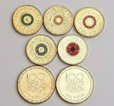 2014-2018 Australian Anzac Coin 7 Set Remembrance $1 100yrs $2 Colour Rings