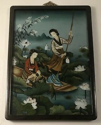 Stunning Japanese reverse painted Geisha scene. Gorgeous color, 1920's or 1930's