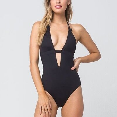 af2b336a286c0 NWT $168 TAVIK Swimwear Emme Halter One-Piece Swimsuit Black Small