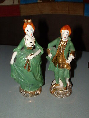 Vintage 1920's to 30's era GEORGE, MARTHA WASHINGTON PORCELAIN CERAMIC FIGURES