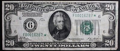 1928 $20 Dollar Bill Star Note Lower Serial Number Out of a Very Low Printing!