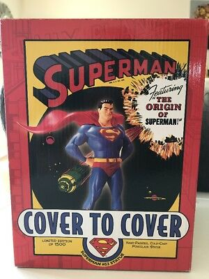 """Superman Cover To Cover #53 Hand Painted 8"""" Statue Nib Limited Edition Dc 2006"""