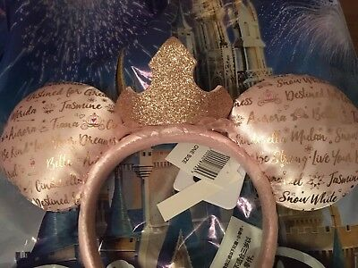 "Disney Parks ""Dream Big Princess Minnie Mouse Ears Pink & Rose Gold"