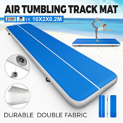 2x10M Air Track Home Floor Gymnastics Tumbling Mat Inflatable GYM Exercise