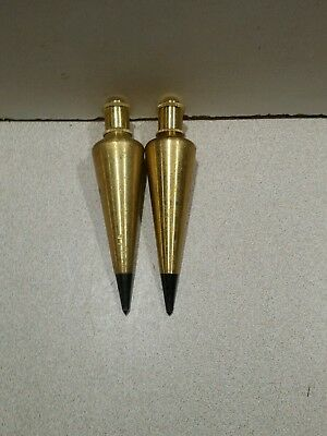 Lot of 2 Stanley 47-973 8-Ounce Brass Plumb Bob, Used
