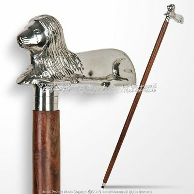 Brass lion Head Cane Handle Wooden Vintage Style Gift Walking Stick Handle