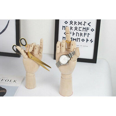 18cm Jointed Wood Hand Mannequin Human Hand Model Jewelry Stand Watch Rack