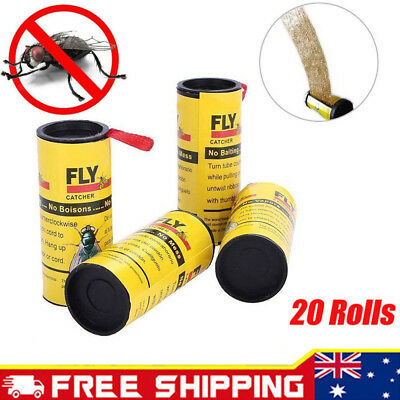 20Rolls Sticky Fly Trap Paper Yellow Traps Mosquito Flie Insect Glue Catcher Hot