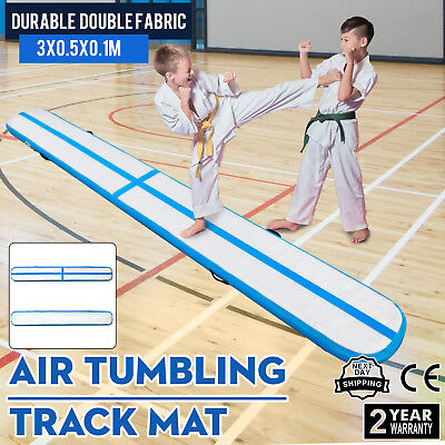 10Ft Air Track Floor Tumbling Inflatable Gym Mat Fitness 1.2Mm PVC Portable