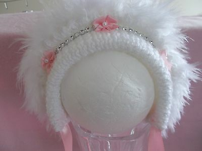 HAND KNITTED TRADITIONAL Baby Girls Sparkle Bonnet Hat N B-24 Months ... 4def53da802