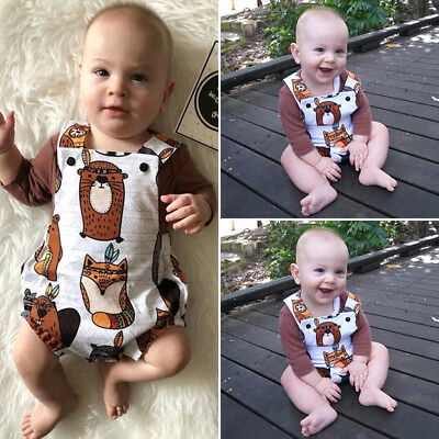 Newborn Baby Boy T-Shirt Tops+Cartoon Animal Romper Jumpsuit 2Pcs Outfit Clothes
