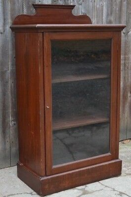 Antique Victorian Mahogany Display Cabinet Bookcase Glazed Side Cabinet Cupboard