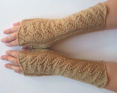 "Long Fingerless Gloves Beige 10"" Arm Warmers Mittens Soft Wool Acrylic"