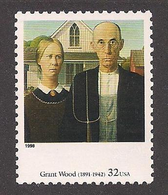 American Gothic - Painting By Grant Wood - U.s. Postage Stamp - Mint Condition