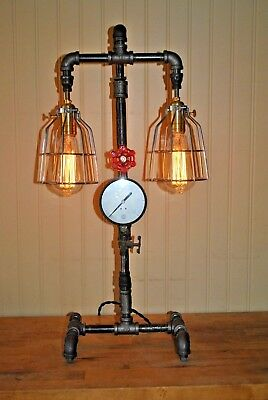 Steam Punk Lamp w/Double Lights, Small Guage, On/Of Valve, & Cast Iron Piping