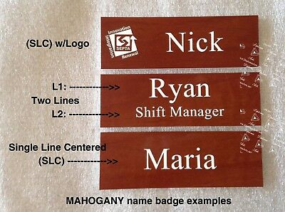 (25 Lot) Custom / Personalized Employee Name Tags, Mahogany color, bulk pricing