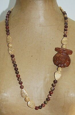 """Vintage Hand Carved Wood Buddha Red Brown Agate Marble Stone Bead 28"""" Necklace"""