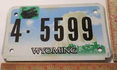 Wyoming motorcycle license plate biker collectible Devils Tower graphics Wy tag