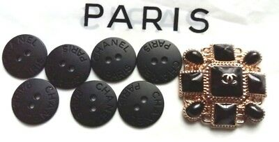 CHANEL 7   BUTTONS 20 mm CC LOGO + 1 sew-on brooc 35 mm mixed lot 8 pieces