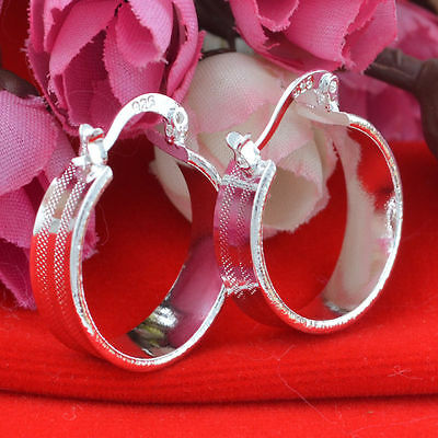 Women Fashion Fashion 925 Sterling Silver Plated Small Wide Hoop Dangle Earrings
