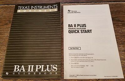 1991 Texas Instruments Business BA II Plus Guidebook Manual And Quick Start
