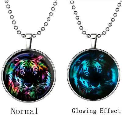 Casual Men Fairy Cool Tiger Glow in the Dark Stainless Steel Pendant Necklace
