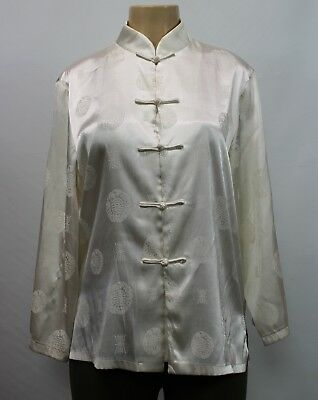 Umbranded Japanese Kimono Ivory Open Front Dressing Gown Robe Size S - M