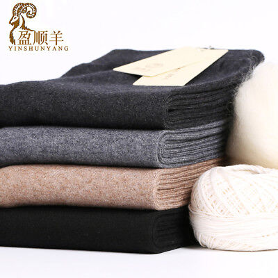 Mens Winter Warm Wool Long Johns Pants High Waist Slim Stretch Trousers Leggings
