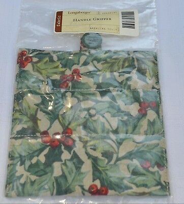 Longaberger Fabric HANDLE GRIPPER - AMERICAN HOLLY - Padded - Single Button