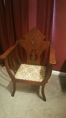 Antique Wood Throne Style Chair. Carved wood 1920s or 30s