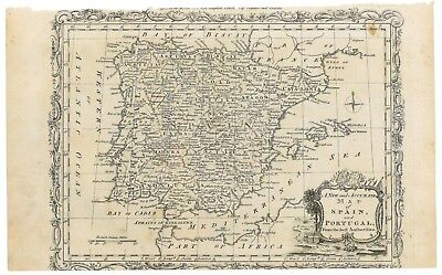 Antique 1779 Map of Spain and Portugal - John Hamilton Moore - Voyages & Travels