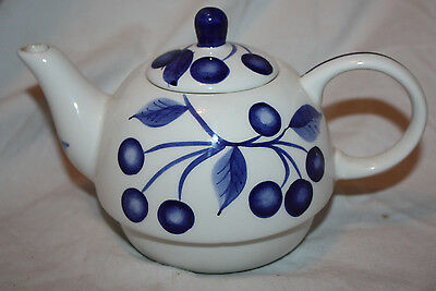 Vintage Blue & White Cherry & Pear Fruit Design Ceramic Teapot